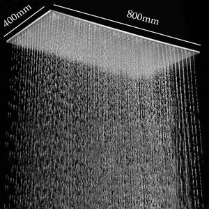 Brushed Shower-Panel Large Bathroom LED Ceiling 304-Stainless-Steel Rain Finish 400--800mm