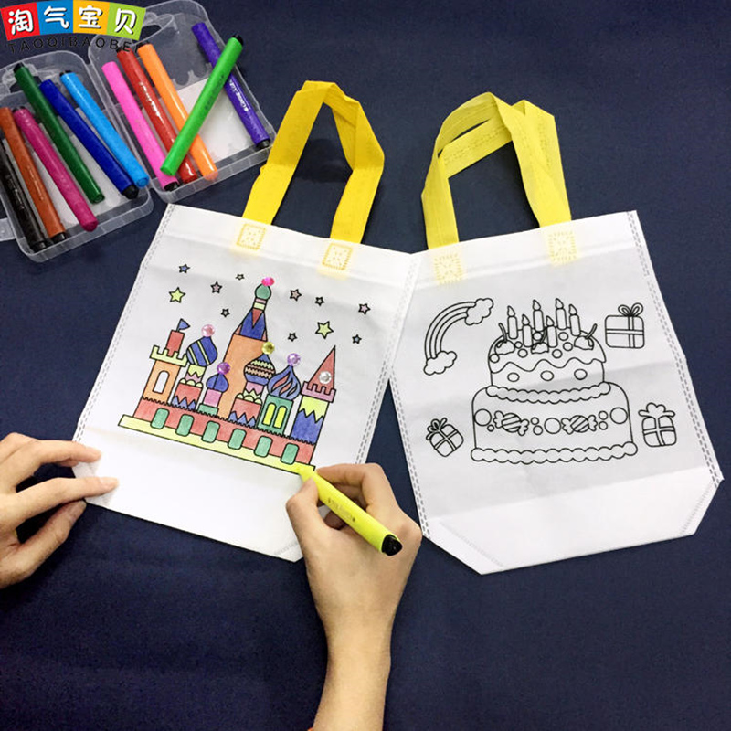 Creative Drawing Toys Coloring Games On Eco Bag With Pens And Drills