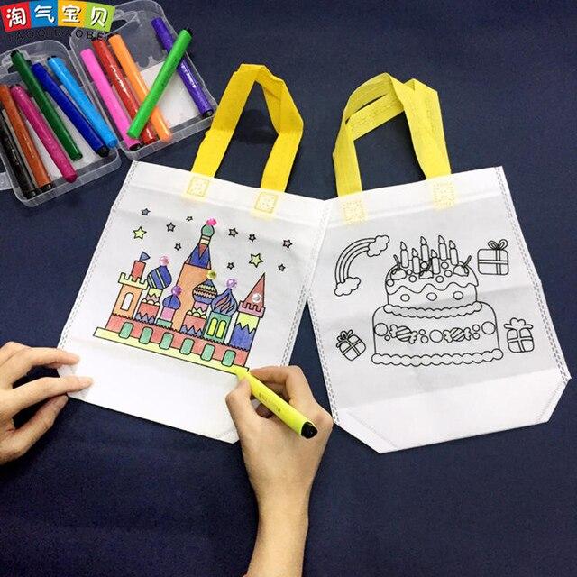Creativo Disegno Giocattoli Da Colorare Giochi Su Eco Bag Con Penne