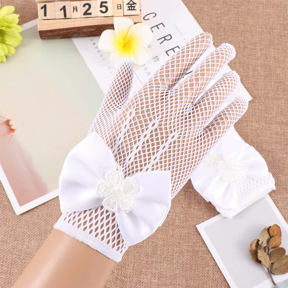 White Gloves Mesh Gift Flower-Girl Thin-Section Princess 1-Pair Bow-Dress Hot-Selling