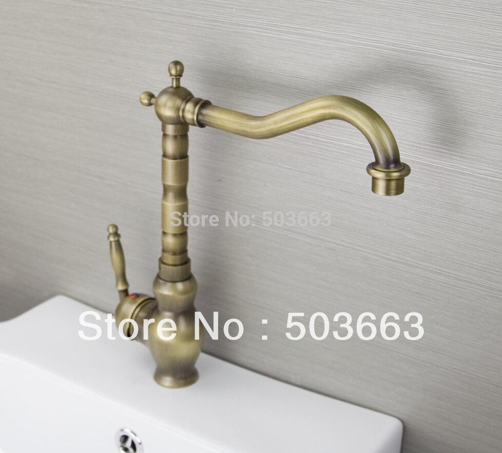 Classic 1 Handle Antique Brass Finish Kitchen Sink Swivel
