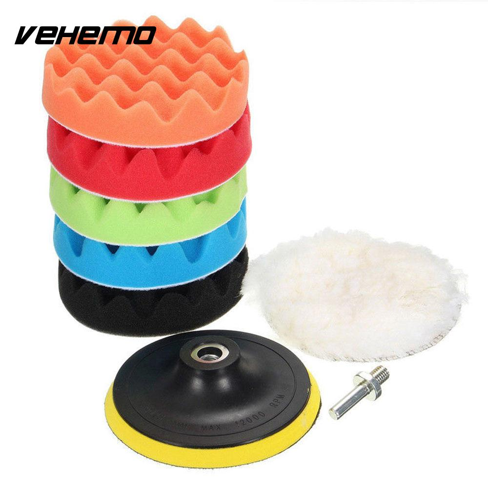Vehemo 8pcs Wheel Kit Buffing Sponge Cleaning Tools Car Buffing Sponge Portable Polishing Foam Auto