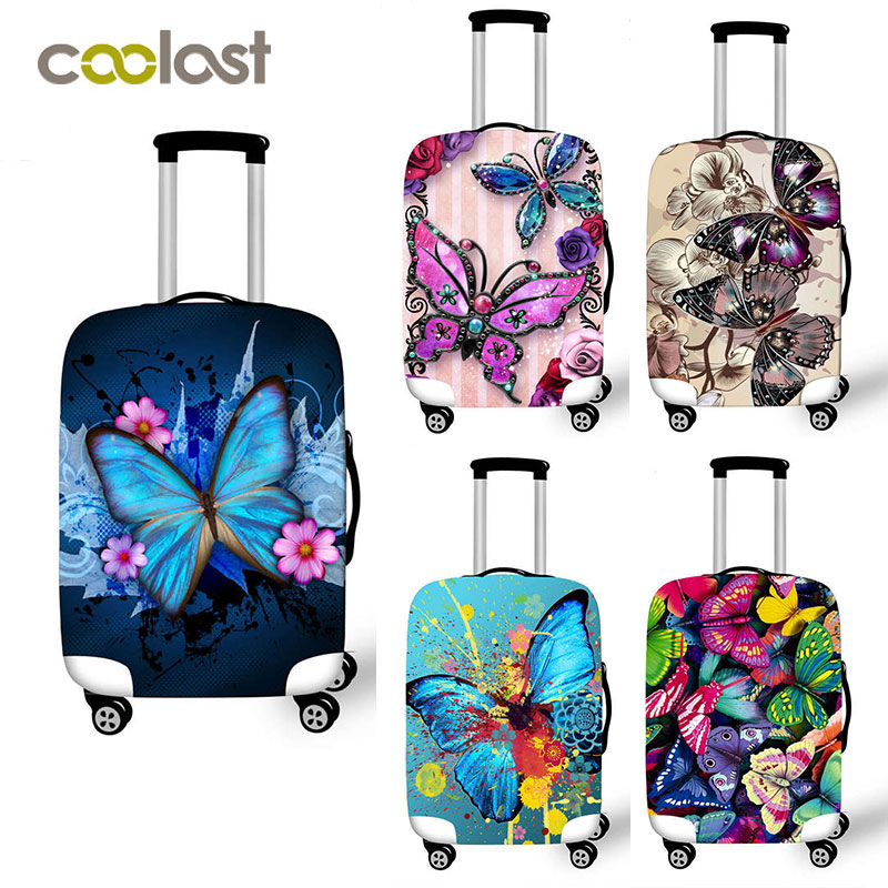 Butterfly Print Trolley Suitcase Protective Cover 18-32 Inch Elastic Luggage Cover Carry on baggage Case Bag Travel Accessories
