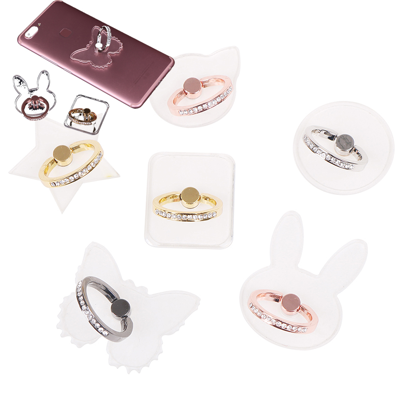 New Transparent Butterfly Ring Phone Holders 360 Degree Metal Finger Ring For Mobile Phone Smartphone Stand Holder Clear Bracket