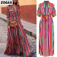 ZOGAA 2019 New Turn-Down Collar Button Lace Up Long Shirt Dress Women Stripe Maxi Dresses Office Lady Plus Size Women Dresses недорого