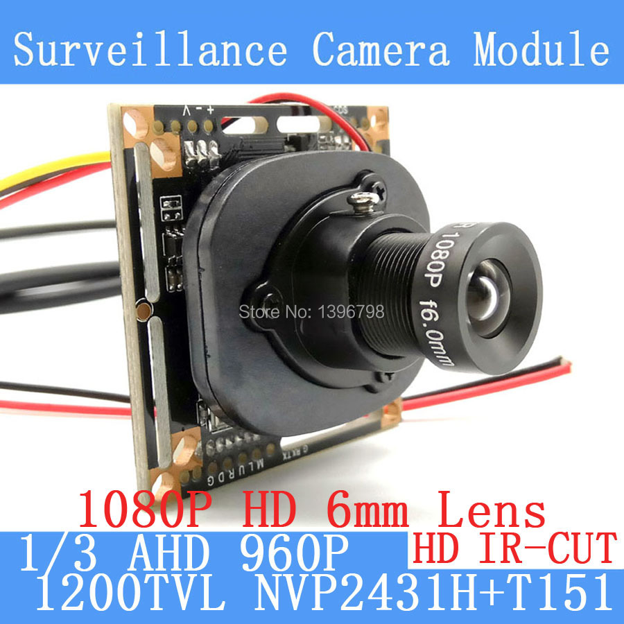 1200TVL AHD Camera Module 960P 1.3MP CCTV PCB Main Board NVP2431H+T151 2MP 6mm Lens+IR Cut surveillance cameras ODS/BNC cable