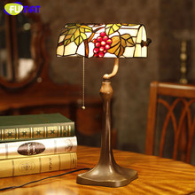 FUMAT Stained Glass Table Lamp Grape Lampshade Classic Lamp Decor Brief Lightings For Living Room Lamp Bedside Table Lights
