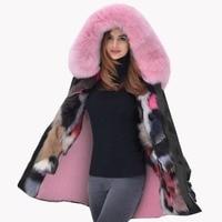 Roiii Thickened Warm Pink Faux Fur Warm Parka Fashion Women Big Hooded Top Winter Jacket Coat Overcoat US SIZE S L XL XXL 3XL