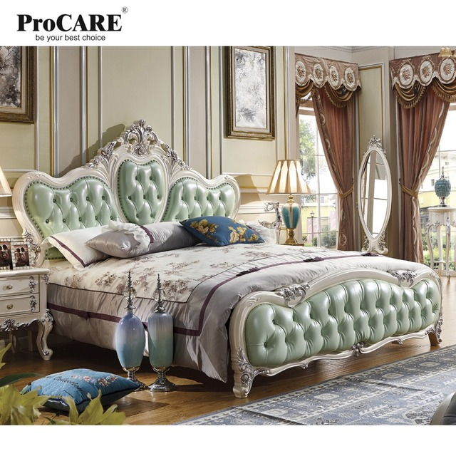 Luxury Bedroom Furniture Sets,Top Genuine Leather Headrest Modern Soft Bed,  French Style Bed
