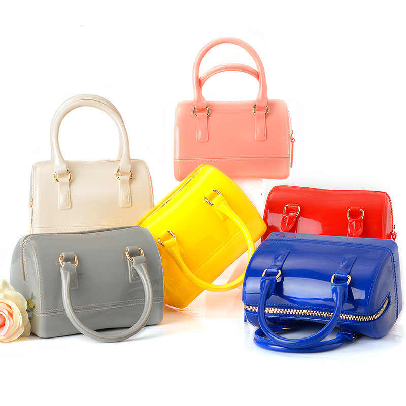 JELLYOOY Small Size 18cm PVC Mini Women Jelly handbag Kids Pillow Shoulder  Bag Candy Color Silicon