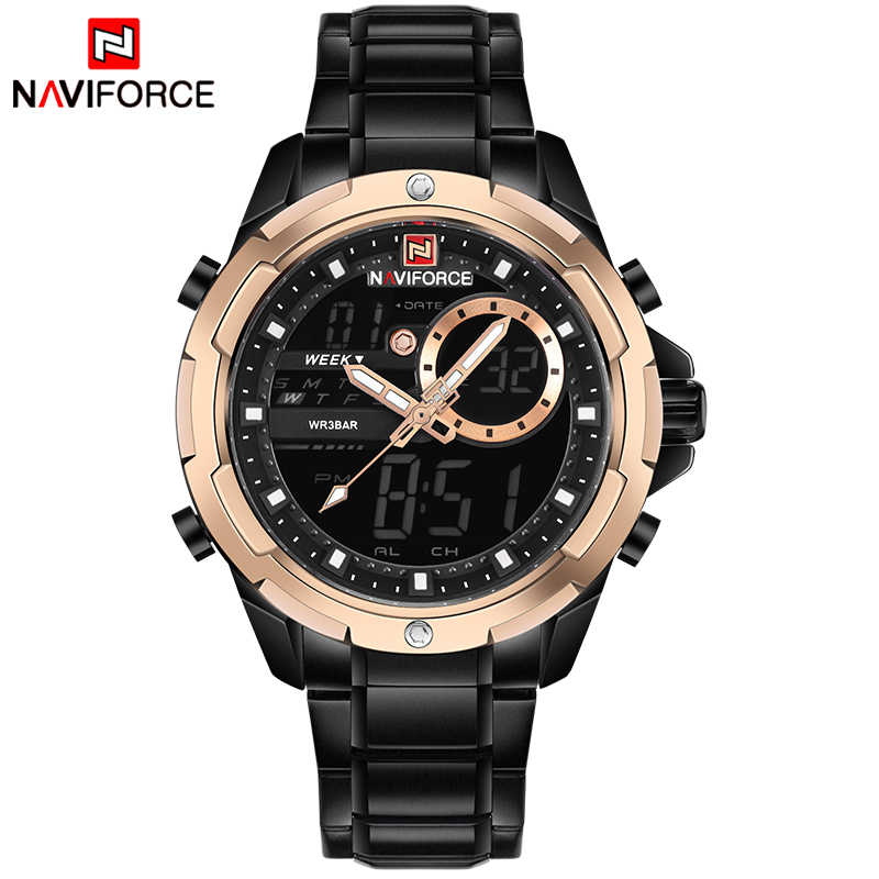 NAVIFORCE LED Digital Dual Time Sports Watch