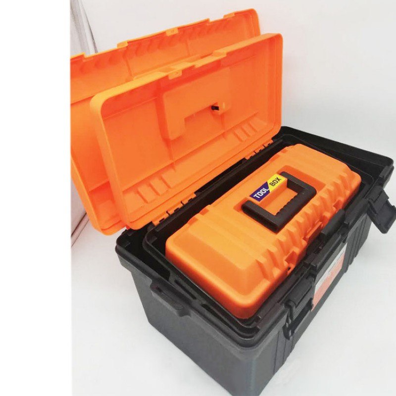 1 Pcs Thickening Plastic Hardware Toolbox Home Repair Multi-function Car Storage Box Art Box With Shoulder Strap