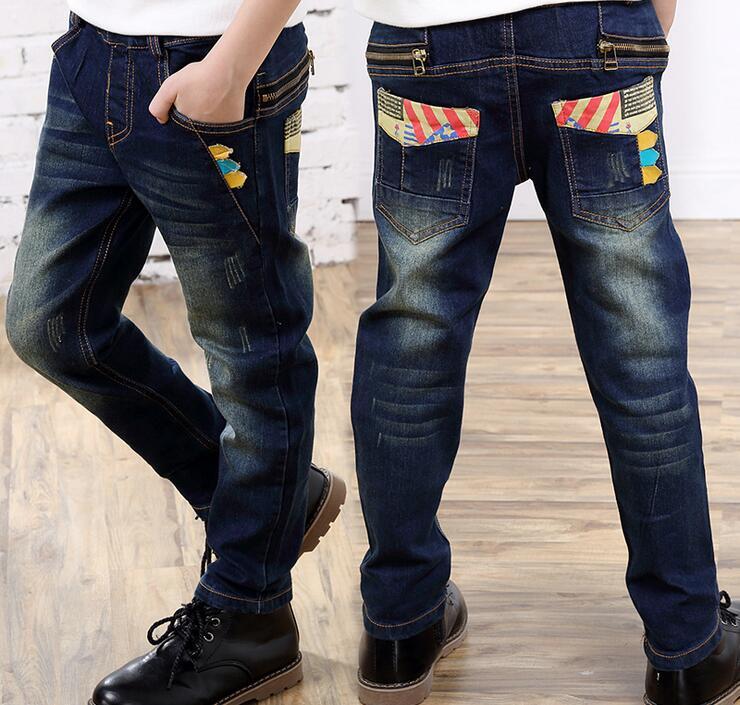 2017 Frühlingsmode Kinder Jungen Blue Denim Lässige Jeans Strench Pull Auf Gerade Fit Elastische Taille Hosen Für Kleine Große Kinder 3-10 T