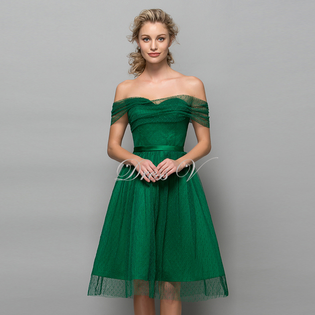 b263293eac0 Green Tulle Knee Length Homecoming Dresses Off The Shoulder 2017 Polk Dot Short  Graduation Dress A