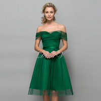 Green Tulle Knee Length Homecoming Dresses Off The Shoulder 2016 Polk Dot Short Graduation Dress A