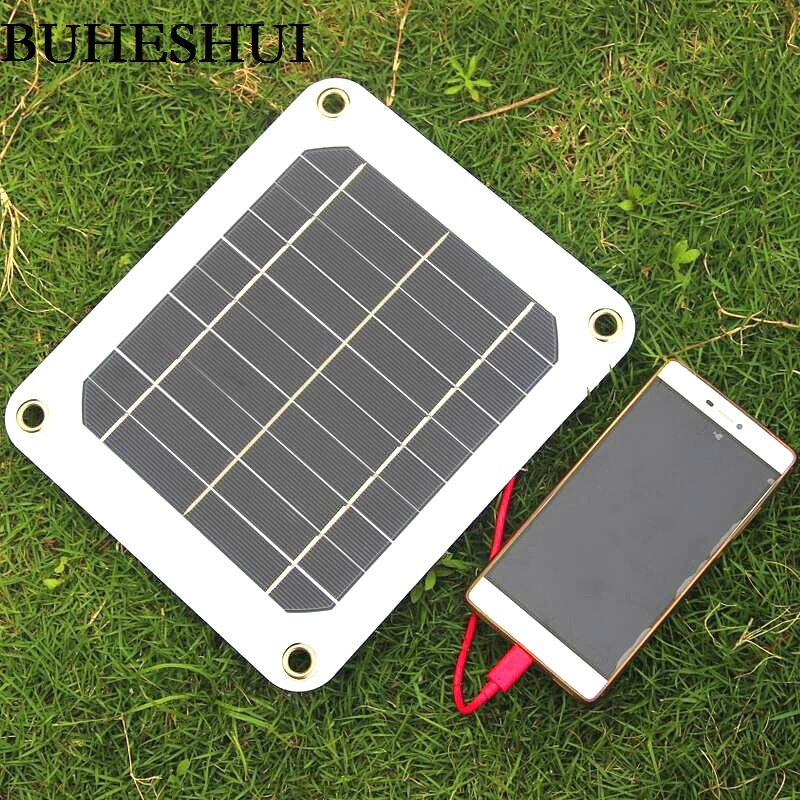 BUHESHUI 5w 5v 1A Solar Panel Charger Green Portable Waterproof Design USB Port Outdoor Camping High efficiency Free Shipping