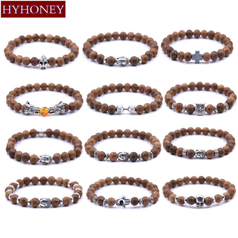 HYHONEY Vintage Men bracelet Owl, skull, cross Accessories 8mm Beads Wood Beaded Buddha Elastic bracelets pulseira masculina