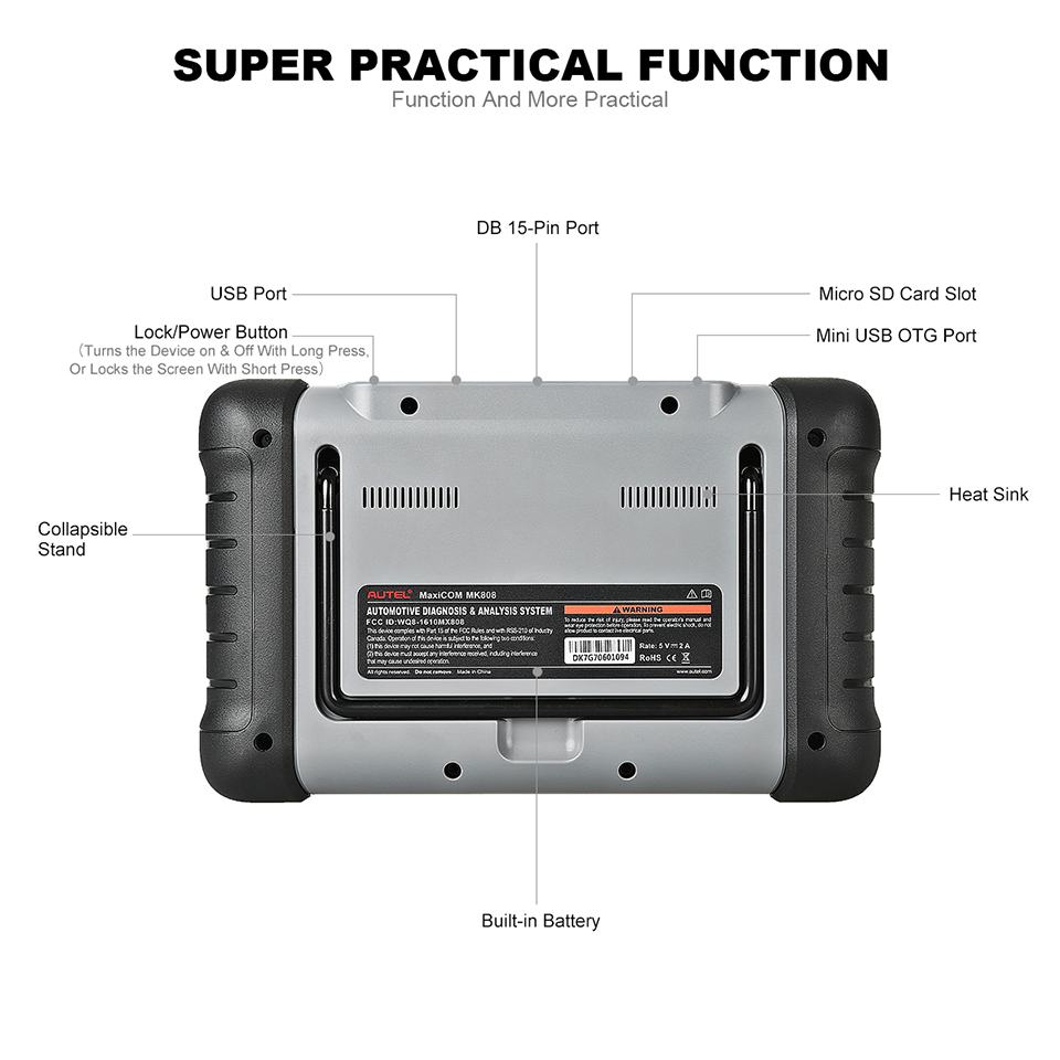 Image 5 - Autel Original MaxiCOM MK808 Diagnostic Tool 7 inch LCD Touch Screen Swift Diagnosis Functions of EPB/IMMO/DPF/SAS/TMPS and More-in Engine Analyzer from Automobiles & Motorcycles