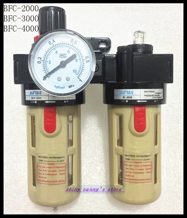 1Pcs BFC-3000 BSP 3/8 Air Filter Regulator Lubricator Combinations ac3000 series air filter combinations f r l combination ac3000 02 g1 4