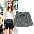 2015 Verano Nuevos Pantalones Cortos Mujeres de la Marca Coreana Yardas Arco Cintura Elástica pantalones Anchos de La Pierna Pantalones Cortos Corto Feminino D1494