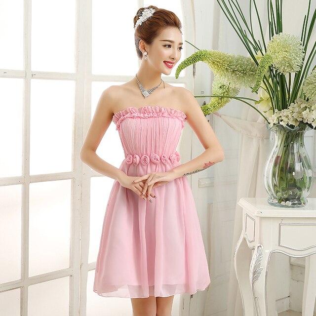 PTH-188Z #2016 Bruid Bruiloft Prom taille korte Bruidsmeisje Jurk groothandel goedkope meisje jurk nieuwe lente zomer Roze en groen