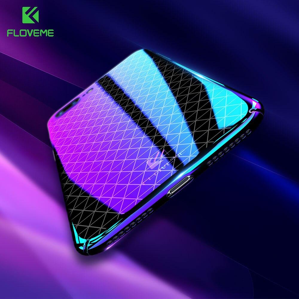 Floveme Роскошные ультра тонкий для iPhone 6 Чехол для iPhone 7 6 6 s 8 плюс Чехол синий свет сетки блеск задняя крышка для iPhone 6 Coque