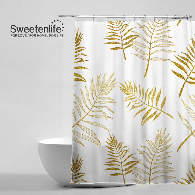Sweetenlife 180x200cm High Quality Tropical Style Shower Curtains Palm Leaves Pattern Bath Curtain Browngold Waterproof