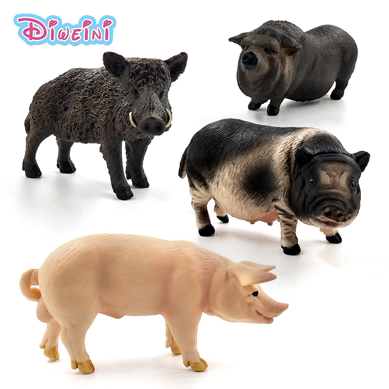 Farm Simulation Animal Model Wild Boar Pig Action Toy Figures Plastic Craft Decoration Educational Best Christmas Gift For Kids