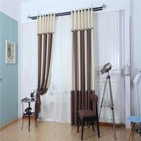 2016 Modern Simple Stitching Cotton Hemp Shade Curtain Fabric High Grade Atmospheric Brown White Splicing Curtains