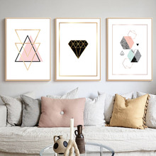 Large Abstract Wall Art Canvas Modern Geometric Marble Polygon Minimalist Painting Pictures Nordic Posters and Prints Home Decor