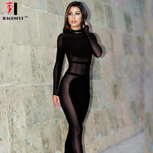Winter Black Bandage Jumpsuits Women Sexy Hollow Out Regular Mesh See-Through O-neck Long Sleeve Full Length Jumpsuit Party Wear