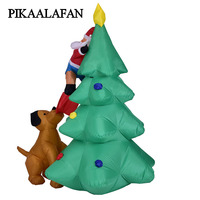 PIKAALAFAN Inflatable Model 1.8 Meter Light Inflatable Dog Bit The Christmas Tree Climbed Christmas Decorations Place decoration
