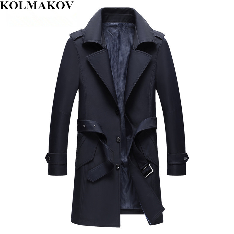 KOLMAKOV 2019 Spring New Men's Business Jacket High Quality Mans   Trench   Coat Slim Fit Men Casual Windbreaker Dress Coat M-4XL