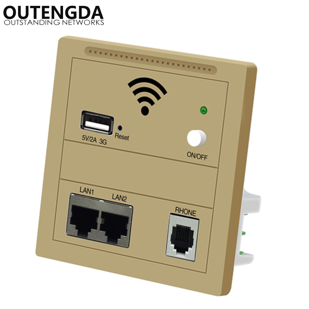 OUTENGDA wifi-router Wall Embedded 3G USB-toegangspunt Draadloos in muur AP-paneelsocket wifi-repeater / router Champagne / wit