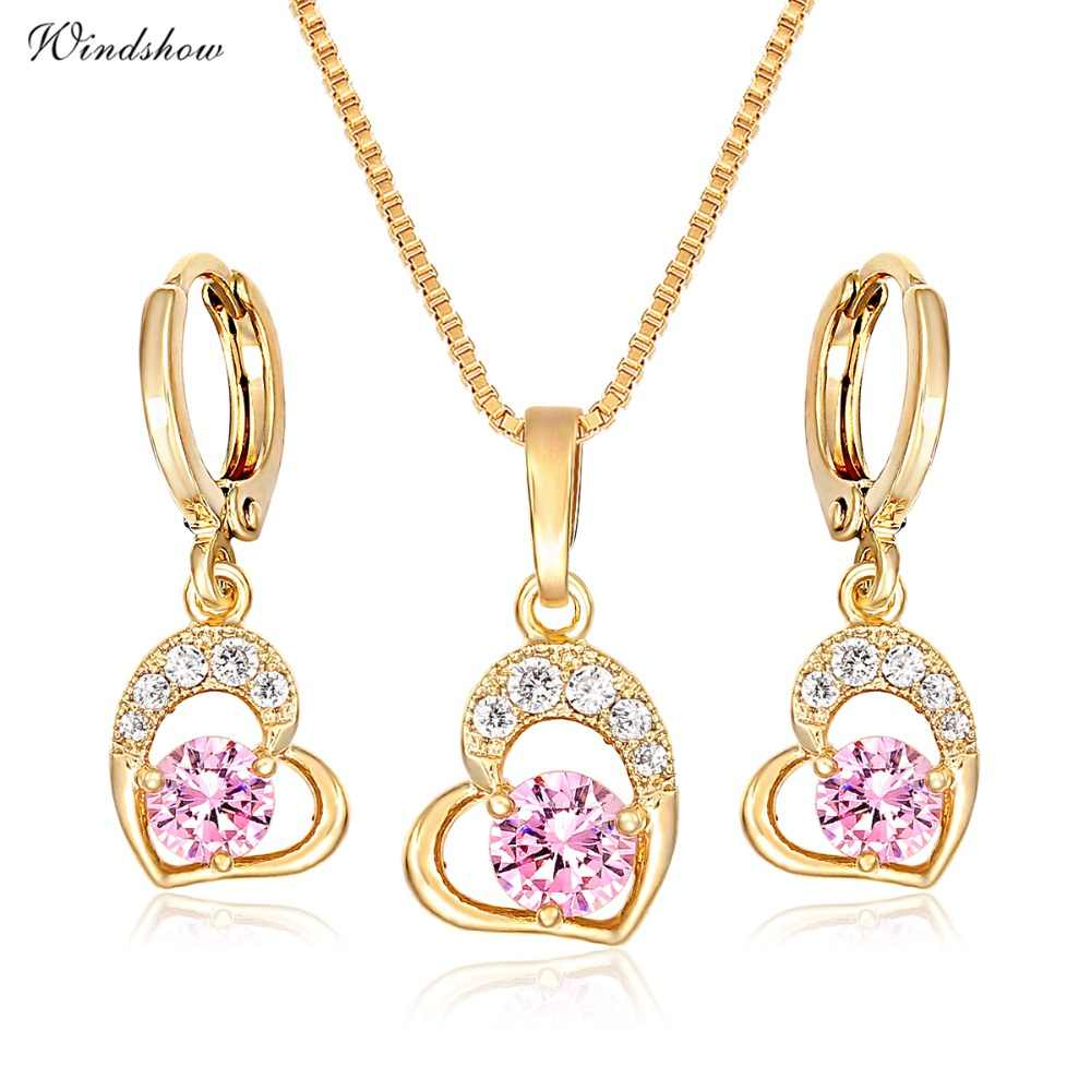 Cute Gold Color Love Heart with Pink or White CZ Drop Earrings Pendant Necklace Small Jewelry Sets for Women Children Girls Kids