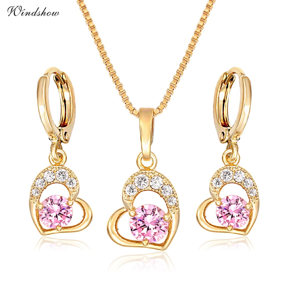 Cute Gold Color Love Heart with Pink or White CZ Drop Earrings Pendant Necklace Small Jewelry Sets for Women Children Girls Kids cute love heart hollow out kitten pendant necklace for women