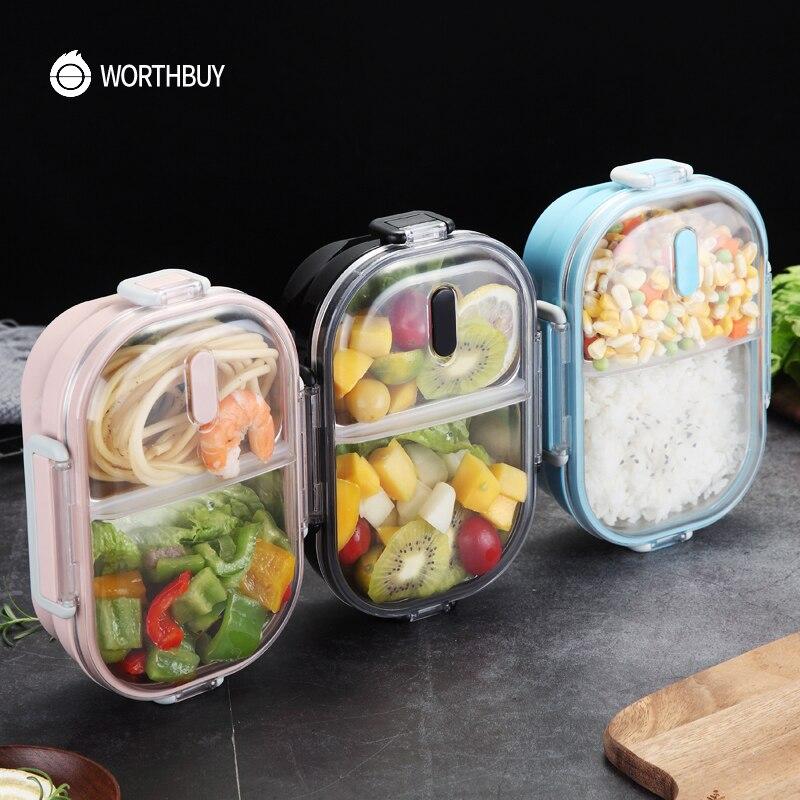 WORTHBUY 일본 휴대용 점심 도시락 학교 304 스테인레스 스틸 도시락 상자 주방 누출 방지 식품 용기 식품 상자