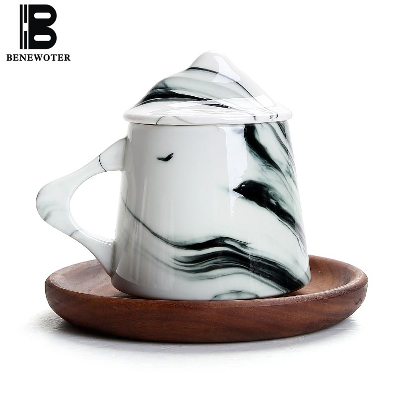 290ml Creative Ceramics Bone China Mugs Manual Tea Set Office Cup with Lid Coffee Milk Ink Painting Kiln Change Gifts Home Decor