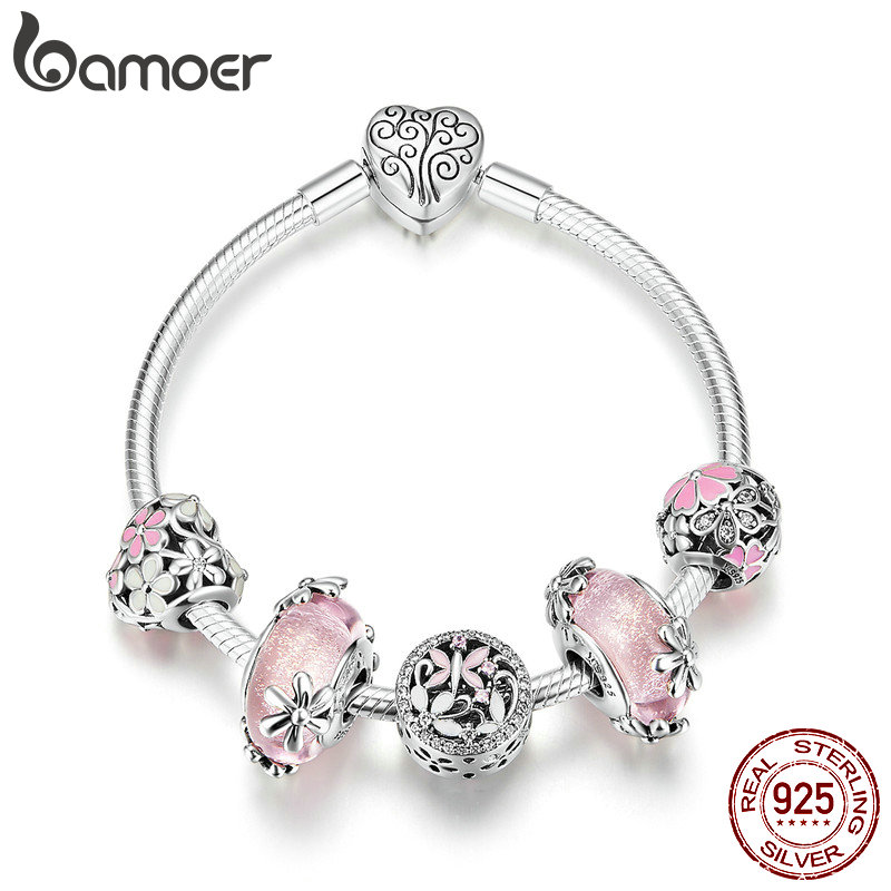 BAMOER 925 Sterling Silver Garden Fairy Pink European Glass Beads Charm Bracelets Bangles Sterling Silver Jewelry
