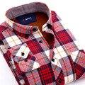 Nueva llegada de abrigo de algodón da vuelta abajo camisas de invierno hombres casuales de manga larga camisas de franela a cuadros de moda camisas