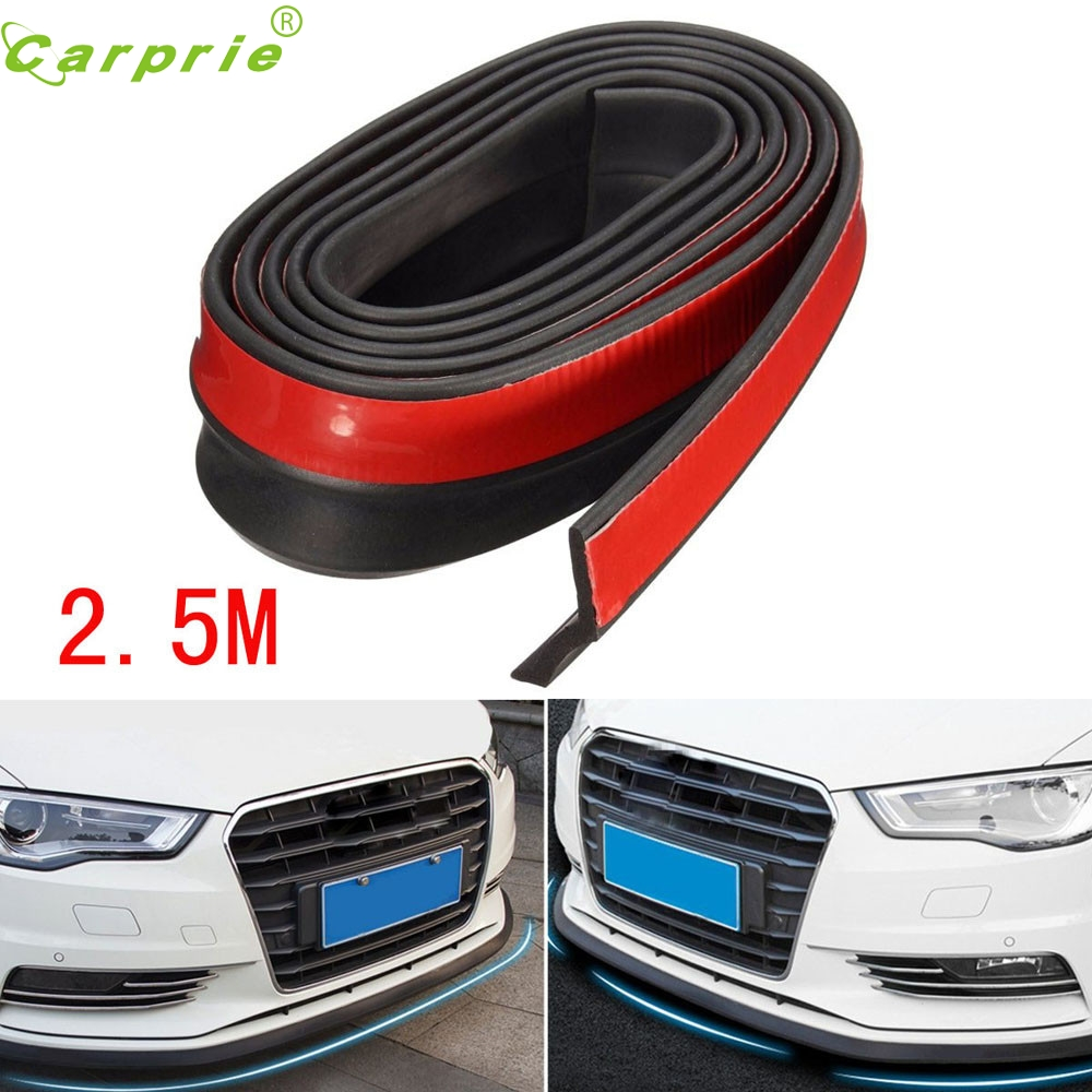 Tiptop New 2.5M Universal Carbon Fiber Front Bumper Lip Splitter Chin Spoiler Body Trim  ...