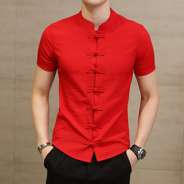 Chinese Style Linen Slim Fit Casual Short Sleeve Dress Shirt 1