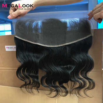 Megalook 13X4 Body Wave Lace Frontal Peruvian Natural Color Remy Human Hair Pre Plucked with Baby Hair Frontal 10-22 inch