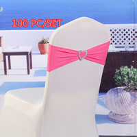 100pcs/set Wedding Spandex Chair Sash Bands Lycra Stretch Chair Bow Ties With Heart Buckle For Beach Hotel Banquet Decoration