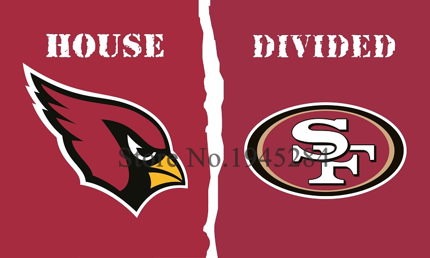 NFL Arizona Cardinals San Francisco 49ers House Divided Flag 002 3x5ft 150x90cm Polyester Flag Banner, free shipping