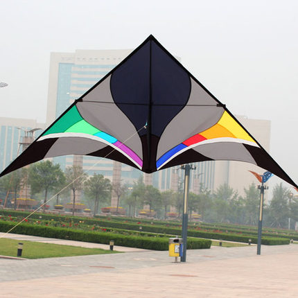 Free Shipping Outdoor Fun Sports 3m Power Nylon Power Triangle Kite With Kite Kandle And Line Flying