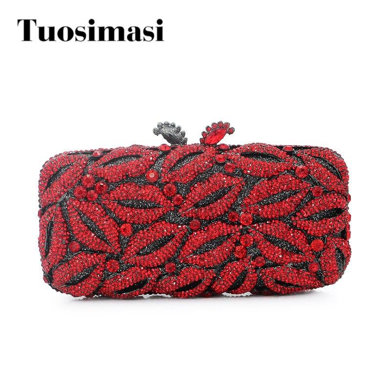 red sexy lip stone woman evening bag party ladies handbag fashion evening clutch (8790A-R) r landes ojibwa woman