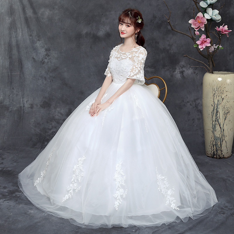 vestido De Noiva Romantic Round collar Elegant Princess Wedding Dress The embroidery Wedding Gown Big yards Wedding Dresses