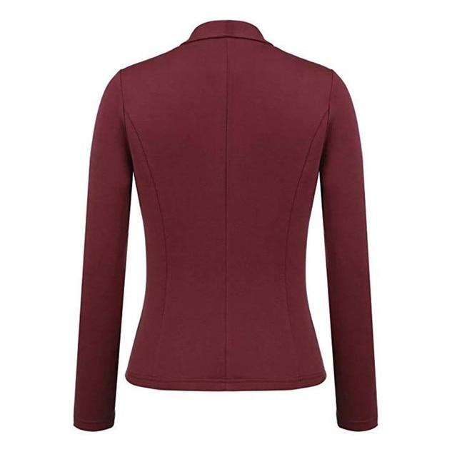 Feitong Women Blazer Jacket Fashion 2018 Women Long Sleeve Solid Cardigan None Button Elegant Work Office Slim Coat Lady Suit/PT 4