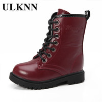 ULKNN Girls Winter Boots For Kids Fashion Boots Children Platform Patent Leather Cotton Fabric Mid Calf